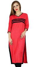 Bimba Peach Rayon Kurta Kurti 3/4 Sleeve Indian Blouse Casual Clothing