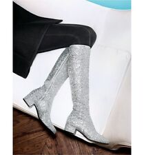 NIB $1,395+ YSL Saint Laurent Galaxy Silver Glitter Knee High Boot 36/ 6 RUN WAY