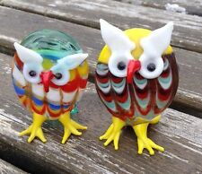 """Pair Of 2"""" Murano Style Glass Owls"""