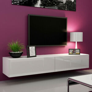 High Gloss White TV Cabinet Wall Mounted Floating Entertainment Unit 100-180cm