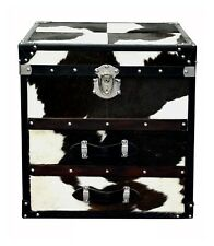 Beautiful Black and White Designer Bedside 2 Drawer with Small Trunk Top