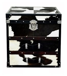 Beautiful Black and White Designer Bedside 2 Drawer with Small Trunk on Top