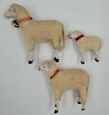 Antique Vtg C 1900s Lot of 3 Stick Leg Putz Sheep German