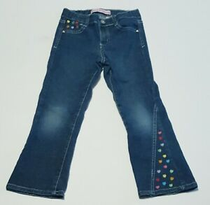 Zana Di Girl's Size 6X Stretch Flare Leg Blue Jeans With Embroidered Hearts. EUC