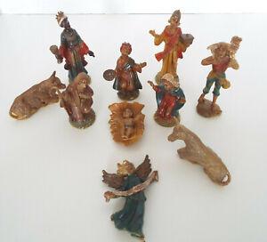 """Vintage Miniature Nativity Set Plastic Celluloid 10 Piece Estate Lot 2"""" - 4"""""""