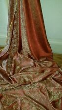 "5M two tone red rust colour paisley print dress/lining Brocade fabric  58""wide"