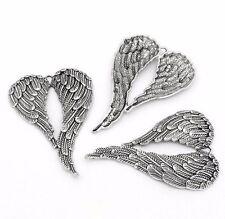 10 x Tibétain Argent grandes ailes d'ange charme pendentif 70mmx46mm Collier Craft