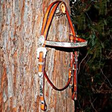 Vintage Custom Sterling Silver Bridle Leather Browband Western Show Headstall