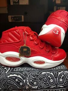 New In Box REEBOK QUESTION MID  v47665 | red, wht, rbk brass | 2013  MEN  Size 8