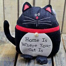 BLACK CAT Fermaporte tessuto di feltro ~ Home è dove è il tuo gatto