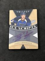 2013-14 UPPER DECK TRILOGY JADEN SCHWARTZ ICE SCRIPTS AUTO ACETATE #IS-SW