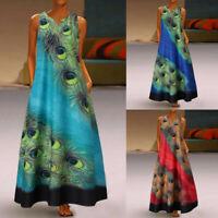 Women Plus Size Sleeveless Peacock Print Long Maxi Dress Boho Summer Beach Dress