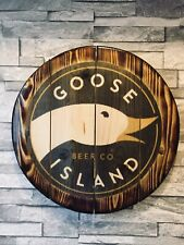Goose Island ipa   round plaque wooden sign man cave shed bar pub 14 inch