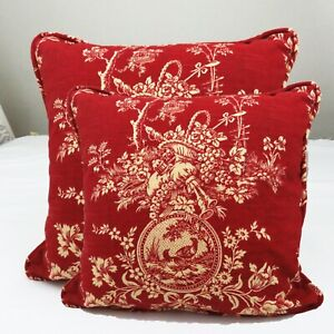 Set of 2 Waverly Red Toile Square Decorative Throw Pillow Cover with Cording