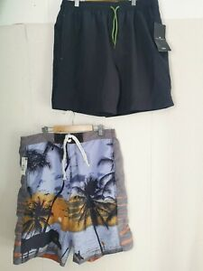 M&S Blue Harbour F&F Men's Swimming Shorts LARGE Navy Tropical Grey NEW- P333