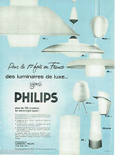 PUBLICITE ADVERTISING 115  1961  PHILIPS   luminaires de luxe verre triple ovale