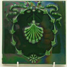 Majolica Tile by Mansfield Bros, c1900 Superb Green Glaze