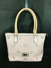 Guess Leather Pink Satchel HandBag with White Flowers NWOT