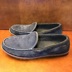 LL Bean Slip On Hard Sole Shoes Men Size 13 M Brown Suede Comfort Slip On