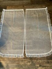 Pair of Retro French White Frilly Net Curtains (54 x 118cm)