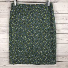 TALBOTS Womens Floral Pencil Skirt Size 2 Teal Yellow Tulip Print Cotton Blend