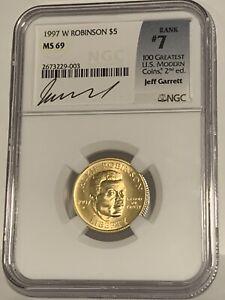 1997 W Jackie Robinson $5 Gold NGC MS69 Jeff Garrett Signature Label