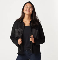Women with Control My Wonder Denim Fringe Jacket - Black - Small