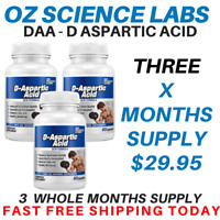 DAA - D Aspartic Acid - 180 Capsules - 3 x Months Supply - D-Aspartic Acid