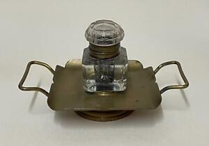 Victorian Dip Pen & Ink Set, Glass Ink Well, Brass Stand / Holder