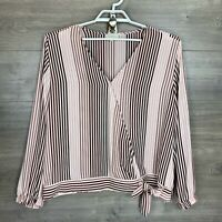 LOFT Outlet Womens XL Blouse Top Pink Red Striped Long Sleeve V-Neck Front Tie