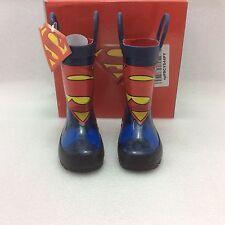 Toddler Boys Western Chief Kids Superman Rain Boots, blue, 6