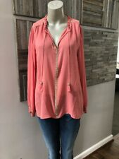 Calypso St Barth Silk Beaded Tassel Coral Top Size Small