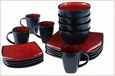 Square Dinnerware Set 16 Piece Gibson Stoneware Dishes Plates Kitchen Red/Bl NEW