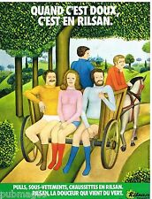 Publicité Advertising 1973 Sous vetements slip homme et femme Rilsan