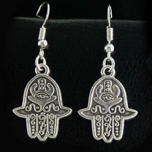 """HAMSA HAND EARRINGS 1.75"""" Evil Eye Drop Fatima Dangle Stainless Steel Ear Wires"""