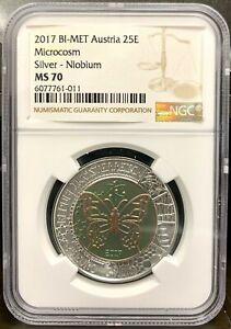 2017 Austria 25 Euro Microcosm Silver & Niobium Coin - NGC MS 70