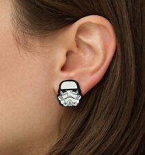 NEW Official Disney Star Wars STORMTROOPER Stud Earrings, Stainless Steel Enamel