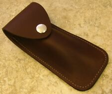 """XL Brown Leather knife Sheath for folding knives up to 5 1/2"""" closed Made in USA"""