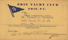 1954 Erie Yacht Club membership card - EYC - Pennsylvania