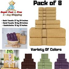 Bath Towel Set Hand Towels Wash Cloths Cotton Super Soft Absorbent Pack of 8