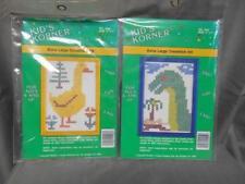 Lot of 2 NIP Kid's Corner XL cross stitch kit duck & dinosaur