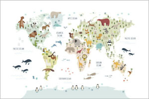 Weltkarte Kinder In Deko Wandtattoos Wandbilder Gunstig Kaufen Ebay
