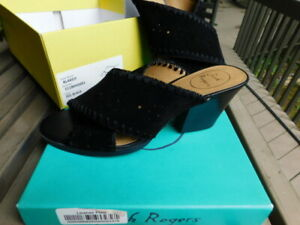 JACK ROGERS w/BOX black genuine LEATHER shoes BLOCK HEELS thong slides SUEDE 9 M