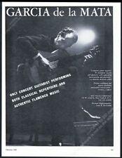 1960 Garcia de la Mata photo guitar recital tour booking trade print ad