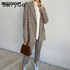 Womens Business Suit Plaid Pant Suits Female Office Double Breasted Ladies Suit