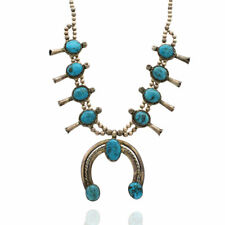 Navajo Sterling Silver & Turquoise Squash Blossom Necklace