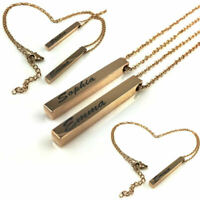 Personalized Silver Tone Engraved Name Plate Bar Engraving Necklace Pendant 06-4