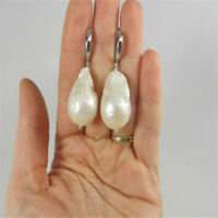 15-18mm White Baroque South Sea Pearl Earring Silver Hooks Elegant Delicate Diy