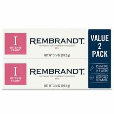 Rembrandt Intense Stain (2-PACK) MINT Whitening Toothpaste 3.52 oz / 99g (12/21)