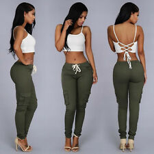 Womens Stretch Skinny Casual Slim Jeggings High Waist Pencil Pants Tie Trousers